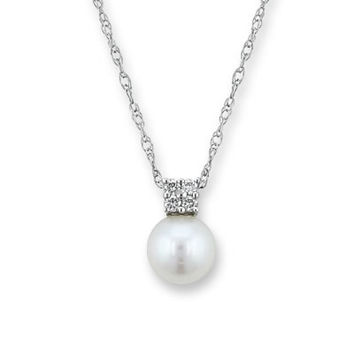 Cultured Freshwater Pearl Pendant in 14K White Gold with Diamond Accents