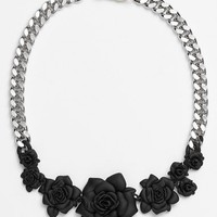 Women's MARC BY MARC JACOBS 'Jerrie Rose' Frontal Necklace - Black/ Argento