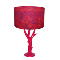 Red Lace Print Lampshade with Red Branch Lampstand