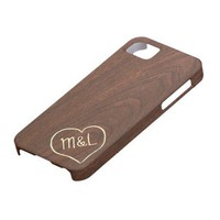 Personalized Red Wood Texture with hear & initials Iphone 5 Cases from Zazzle.com