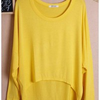 Women Autumn Euro Style Simple Loose Bat-wing Sleeve Yellow Cotton Shirt One Size@WH0036y $8.37 only in eFexcity.com.