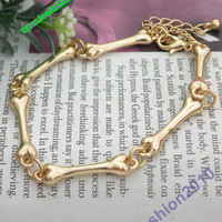 Pretty retro gold 3D bones hand chain bracelet pendant jewelry punk style