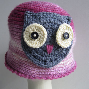 Pink hat for ladies / Knitted winter hats owl fashion / gray hat who likes funny dressing /Women Teens Accessories