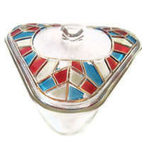 Abstract Serving Dish, Inland Glass, Colored Glass Dish