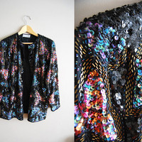 Sail Away with Me - Vintage 80s Black Rainbow Sequin Trophy Party Jacket