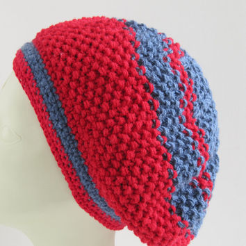 Red and gray striped beanie /Hand Knitted Hat / Women Teens Accessories//Christmas gift.