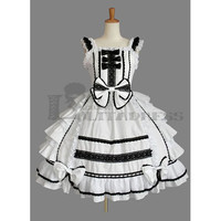 Charming Sleeveless Square Collar Multi-Layeer Ruffles Bowknot Cotton White Gothic Lolita Dress Fancy Dress [TQL120504045] - £48.59