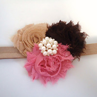 Shabby chic flower baby headband