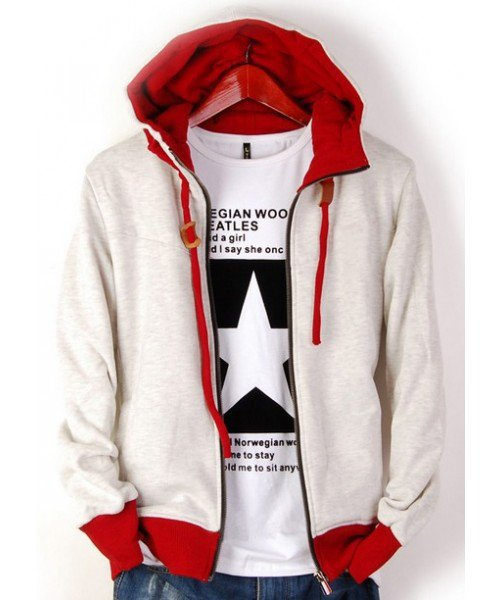 Men Spring New Style Color Blocking Pure Cotton Long Sleeve Ivory Hoodie M/L/XL/XXL @WH0244i $22.99 only in eFexcity.com.