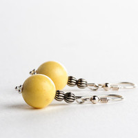 Yellow Autumn Earrings Beaded Rustic Fall Fashion Jewelry