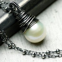 Wire Wrapped Freshwater Pearl Necklace by PoppyLayneStudio on Etsy