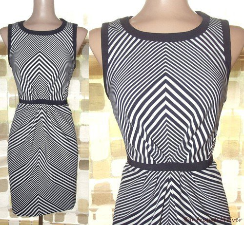 RETRO 50s 60s STYLE OpArt Black & White Striped Pencil Wiggle Dress MADMEN 8 MOD