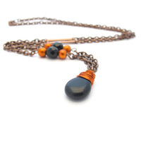 Halloween Wire Wrapped Necklace, Black and Orange Beads