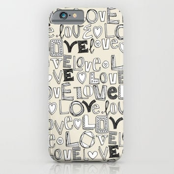 l o v e LOVE ivory white iPhone & iPod Case by Sharon Turner