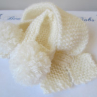 Baby Scarf and Baby Slippers Matching Set in White