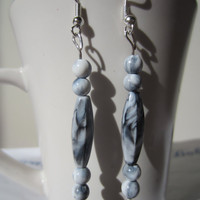 Black & White Swirl Dangle Earrings