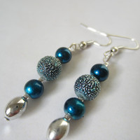 Blue Metallic Dangle Earrings