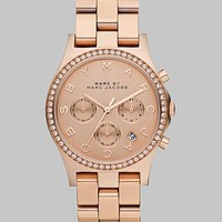 Marc by Marc Jacobs - Crystal Accented Rose Goldtone Ion-Plated Chronograph Watch