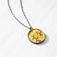 Little Twigs Necklace - 1930s fabric red yellow tree branches resin pendant on sterling silver chain - vintage fabric jewelry - small