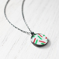 Peppermint Sprinkles Necklace - 1930s fabric christmas mint green red resin pendant on sterling silver chain - vintage fabric jewelry