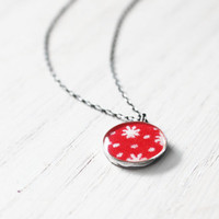 Stardust Necklace - 1930s fabric red stars constellation solar system resin pendant on sterling silver chain - vintage fabric jewelry