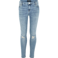River Island Girls light blue mid wash ripped jeans