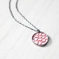 Drift Necklace - 1930s fabric red waves lines resin pendant on sterling silver chain - vintage fabric jewelry - small