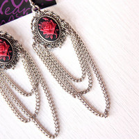 Red Rose Cameo Earrings By NeonAngelDesign