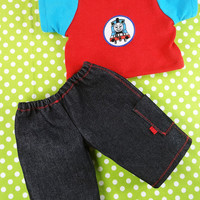 Waldorf Boy Shirt and Jeans, 15 inch Doll Clothing Appliqued Tshirt Topstitched Cargo Pants Red Blue Train - Vtements poupe