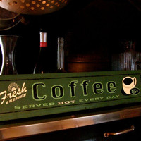 Coffee sign Hand painted on old wood by Croworks on Etsy