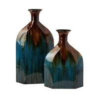 IMAX Worldwide 12930-2 Blaze Blue Drip Bottles Vase