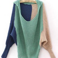 Color Block Loose Green Sweater S001921