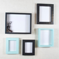 Gallery Wall Picture Frame Set - Black and Aqua - Deep Frame and Shadow Box Frame - Black and Aqua Picture Frames