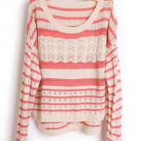 Hollow out Pretty Striped Red Sweater  S001672