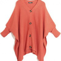 V-Neck  Orange bat sleeve loose shrug sweater  cardigan type  Bat sleeves Pop  style zz91700701 in  Indressme