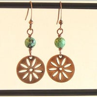 African Turquoise, Copper Daisy Dangle Earrings.