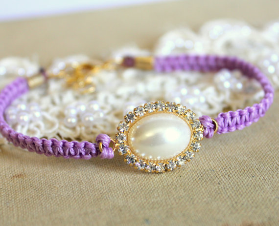 Purple violet Friendship bracelet braded with pearls and swarovski rhinestones