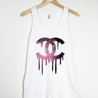 Space Pattern Dripping Chanel - American Apparel Unisex  Fine Jersey Tank Top