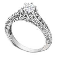 European Engagement Ring - Filigree Round Diamond Engagement Ring 0.25 Carat - ER21
