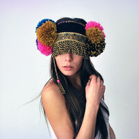 UTHA black Pom-Pomia ear warmer......  Black ethnic UTHA pom pom ear warmer....headdress