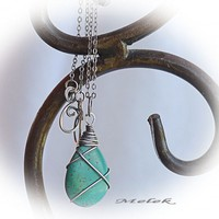 WireWrapped Green Turquoise Howlite Sterling Silver Necklace
