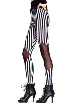 Vertical Stripes Mesh Contrast Skinny Leggings