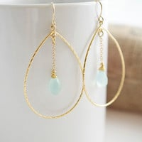 Chalcedony Earrings, Gold Earrings, Large Earrings