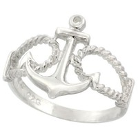 Sterling Silver Anchor Ring 9/16 inch (14 mm) long,9/16 inch (14 mm) long,sizes 5 - 9: Jewelry: Amazon.com