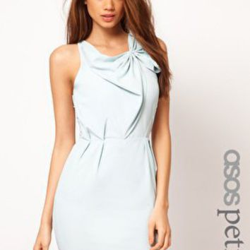 ASOS PETITE Exclusive Dress With Gathered Front And Mesh Back at asos.com
