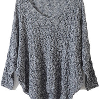 Slim Figure Batwing Sleeves Grey Jumper [NCSWU0337] - $68.99 :
