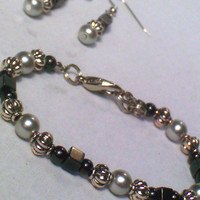 Silver Pearl and Magnetic Hematite Bracelet and Earrings