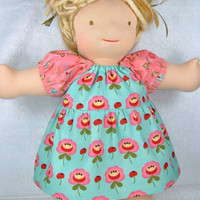 Waldorf Doll Dress - clothes clothing 16 inch peasant dress pink turquoise flowers moda - Robe turquoise poupée