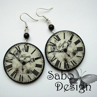 Antique white CLOCK EARRINGS retro steampunk vintage clocks gothic goth gothique perfect gift gray