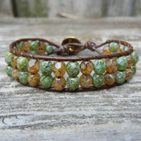 Beaded Leather Single Wrap Bracelet with Green and Light Brown Czech Glass Beads on Brown Leather